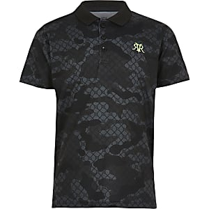 Polo camouflage noir pour garçon