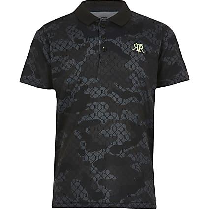 Boys black camo polo shirt
