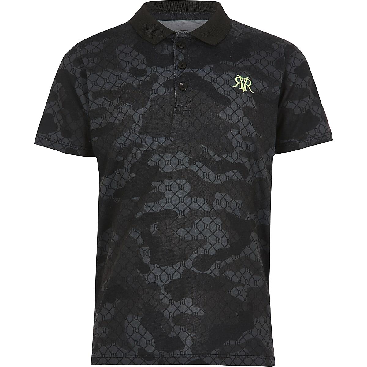 Zwart poloshirt met camouflageprint voor jongens