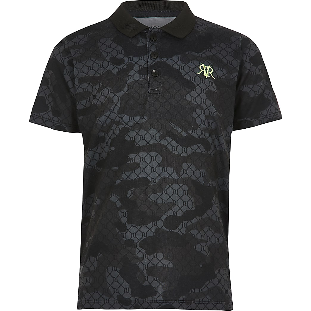 Boys black camo polo shirt
