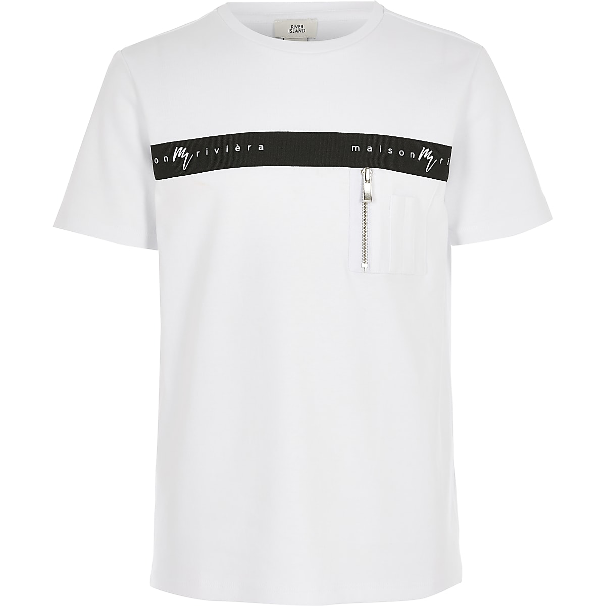 Boys white Maison Riviera zip pocket T-shirt