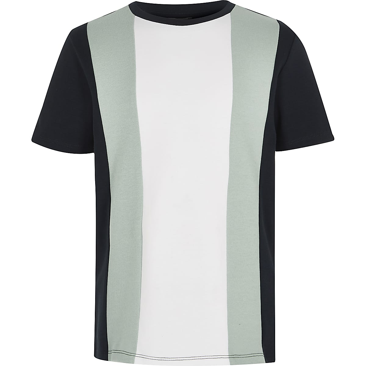 Boys navy colour block T-shirt