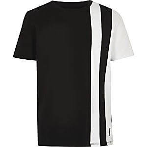 Boys black stripe block T-shirt