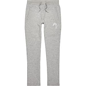 Pantalon de jogging habillé gris à fines rayures