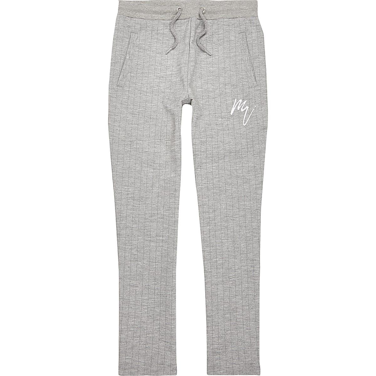 Grey pinstripe smart joggers