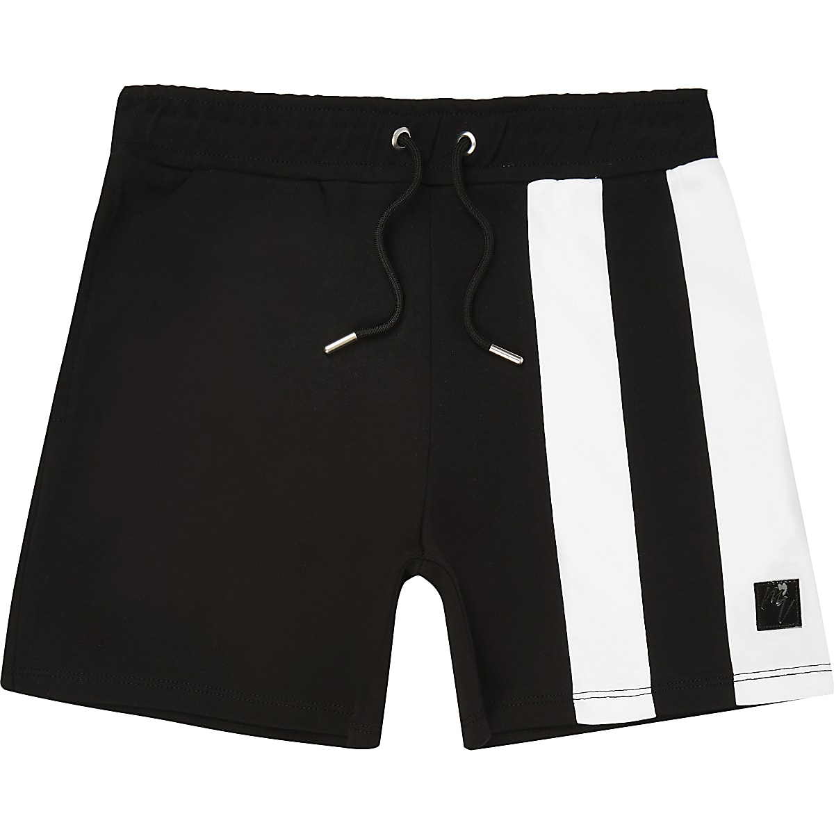 Boys black stripe block jersey shorts