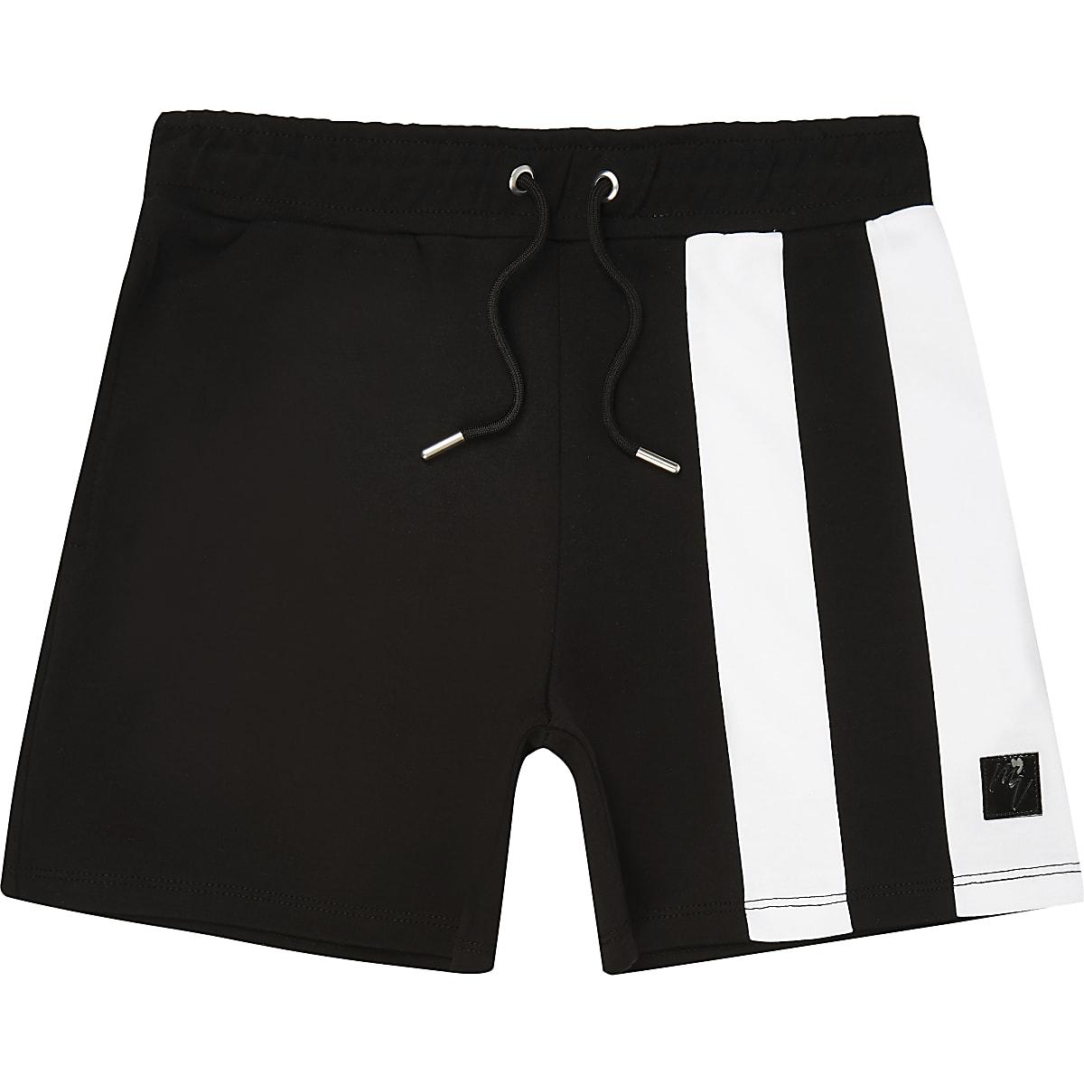 Boys black stripe block jersey shorts