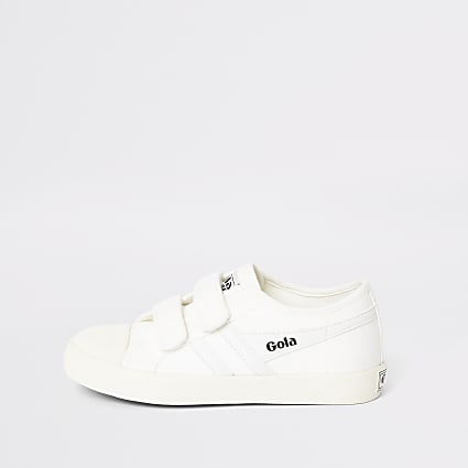 Boys Gola white velcro trainers