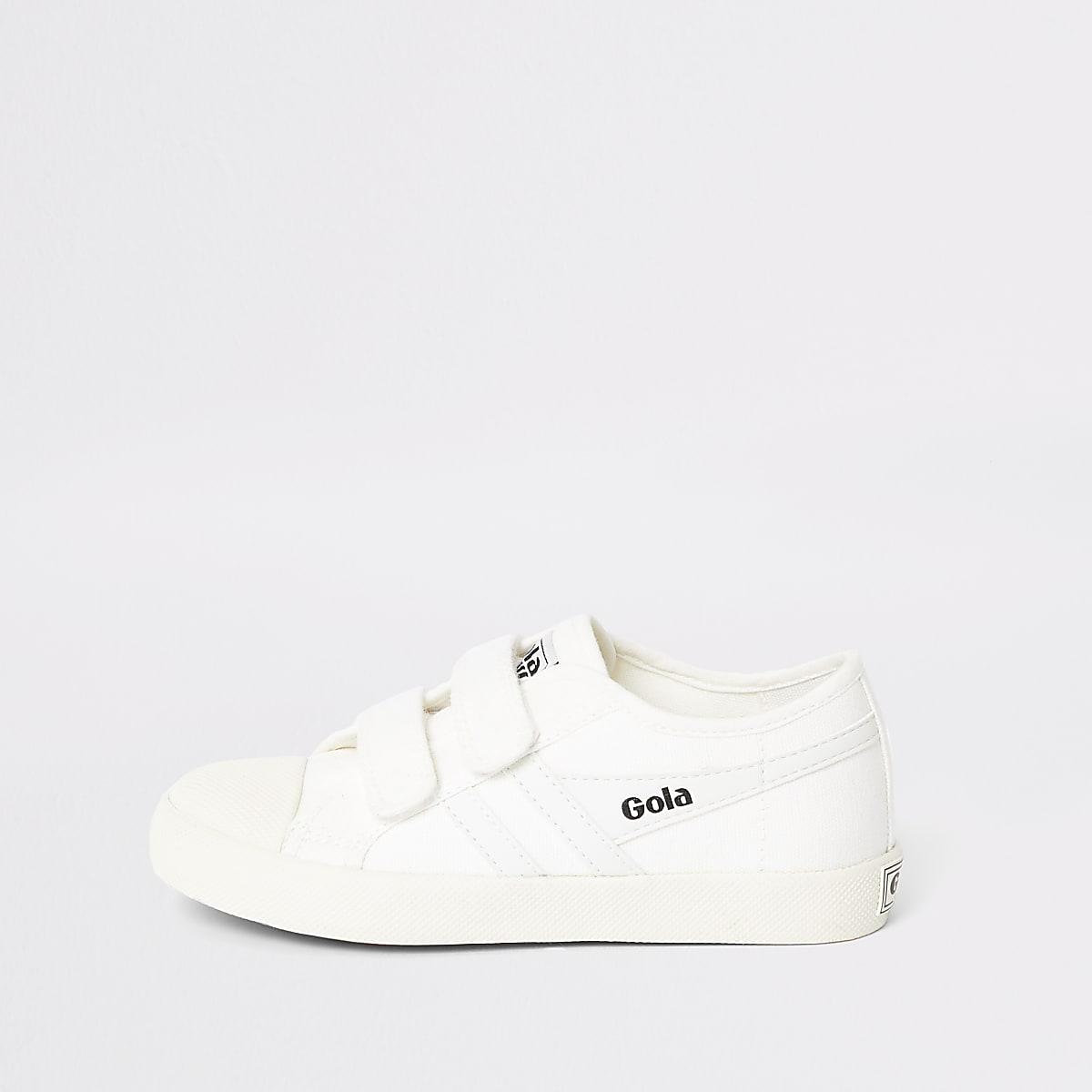 Baskets Gola blanches à Velcro pour garçon