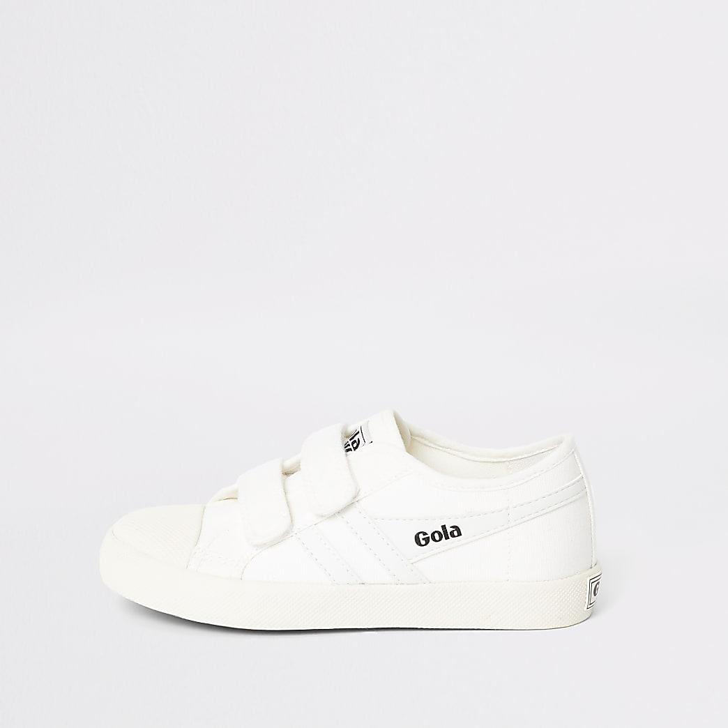 Boys Gola white velcro trainers
