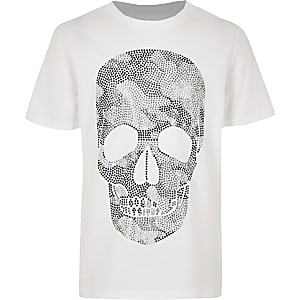 Boys white diamante skull T-shirt