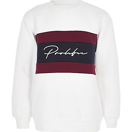 Boys white prolific block sweatshirt