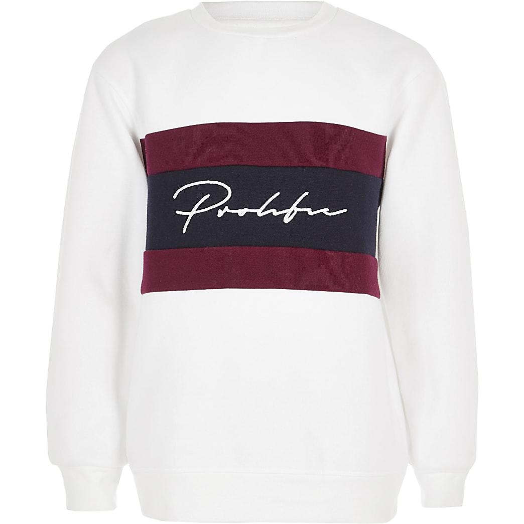 Wit sweatshirt met kleurvlakken en prolific-print voor jongens