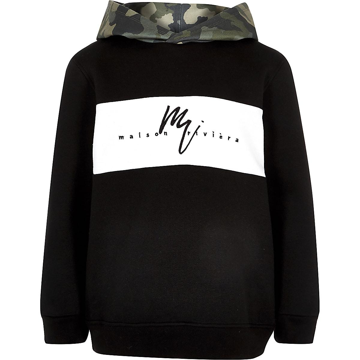 Zwarte hoodie met camouflageprint voor jongens