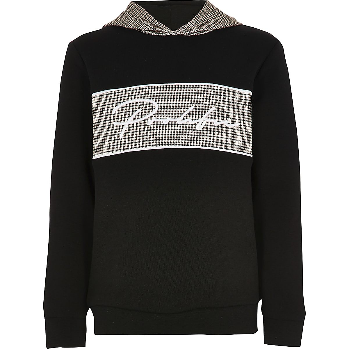 Boys black 'Prolific' check hoodie