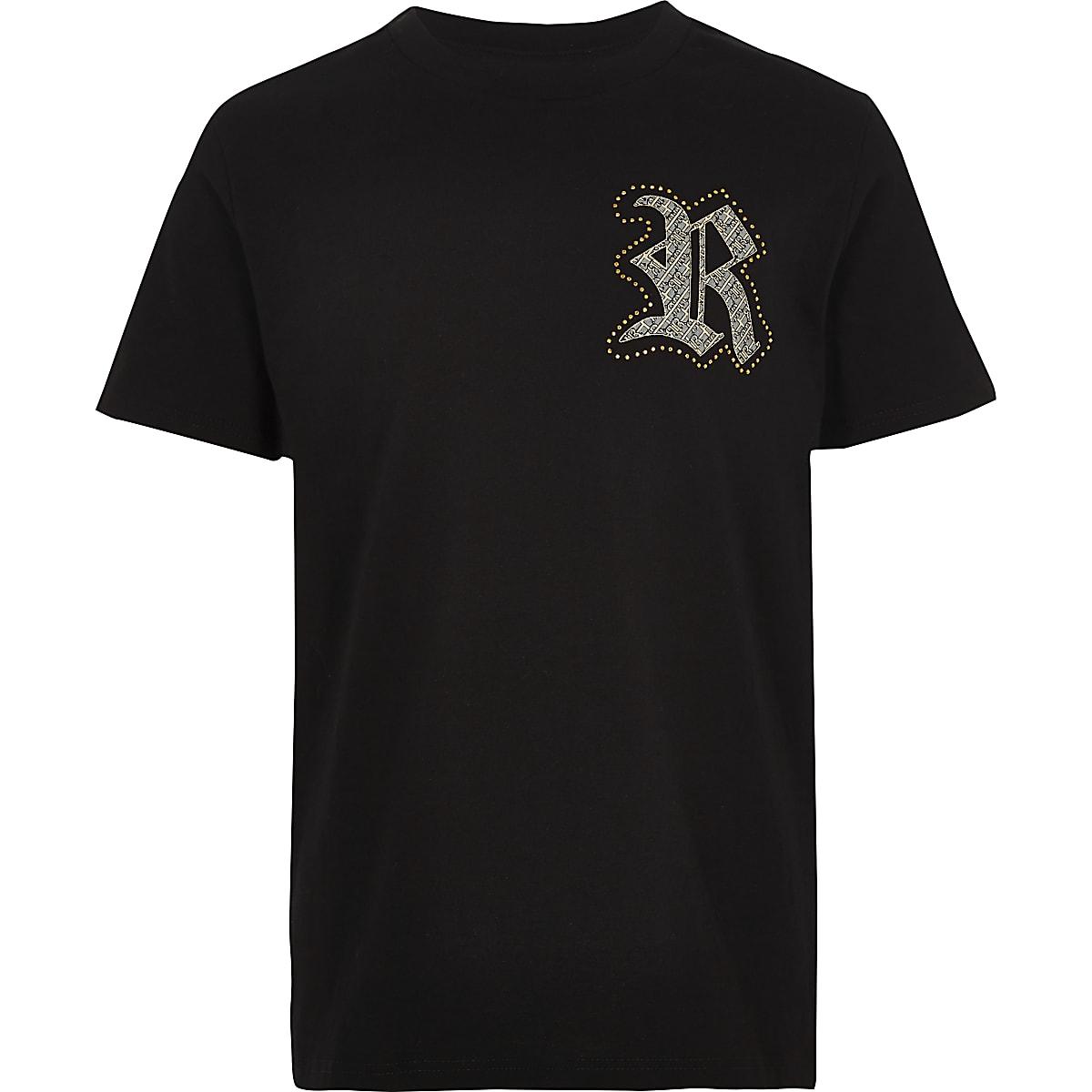 Boys black family twinning RI T-shirt