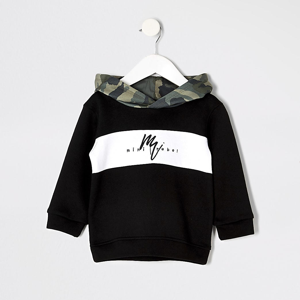Mini boys black camo hoodie