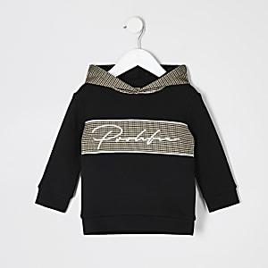 Mini - Zwarte geruite hoodie met 'Prolific'-print voor jongens