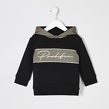 Mini boys black 'Prolific' check hoodie