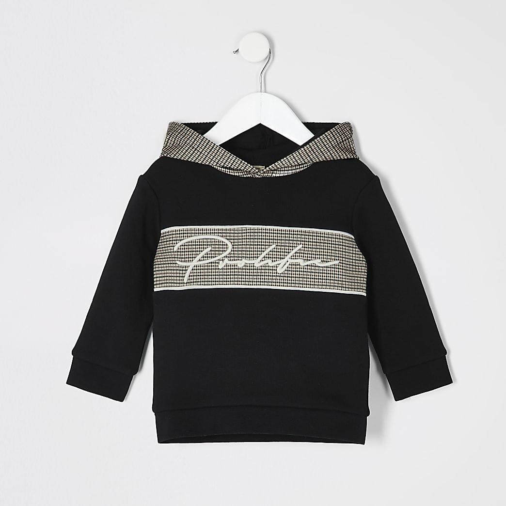 Mini boys black Prolific check hoodie
