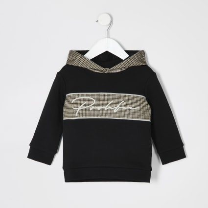 Mini boys black Prolific check hoodie