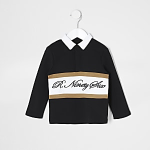 Mini boys black R96 rugby shirt