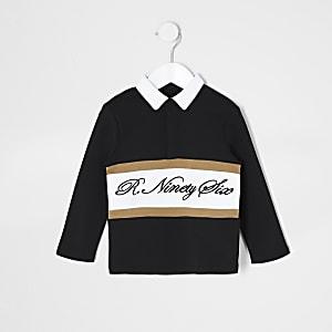 Mini - Zwart rugbyoverhemd met R96-print voor jongens