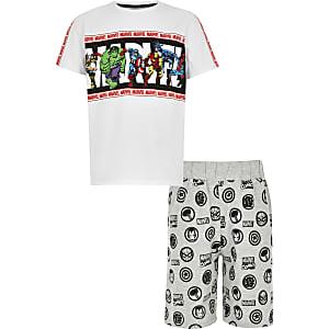 Witte pyjamaset met Marvel superhelden-print voor jongens