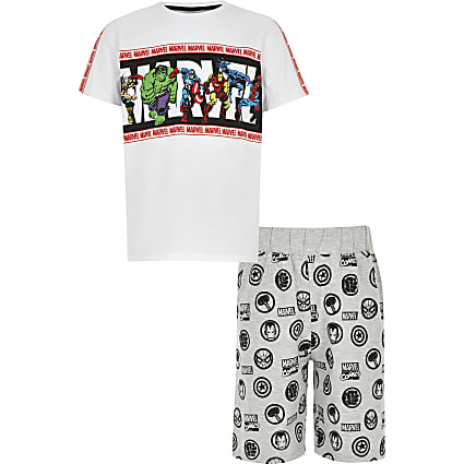 Boys white Marvel superheroes pyjama set