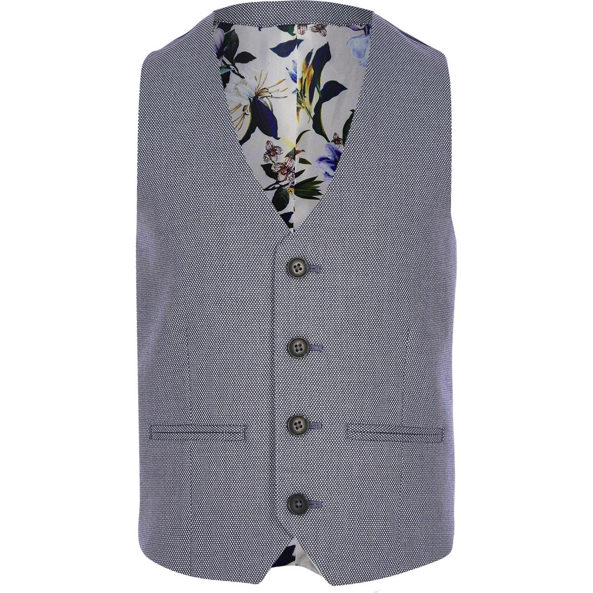 Boys blue textured pin dot suit waistcoat