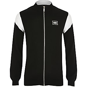 Boys black blocked funnel neck track jacket