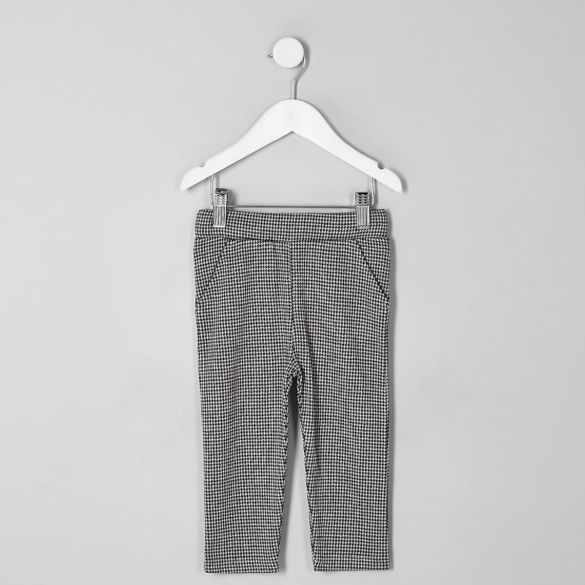 Mini - Rode broek met pied-de-poule-motief voor jongens