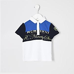 Mini boys blue blocked polo shirt