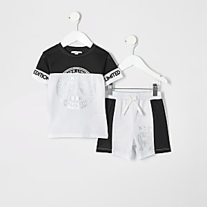 Mini - Witte shortoutfit van mesh met folieprint voor jongens