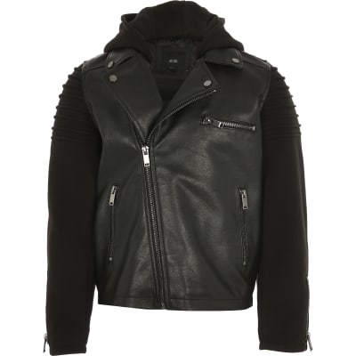 Boys Jersey Sleeve Faux Leather Biker Jacket by River Island