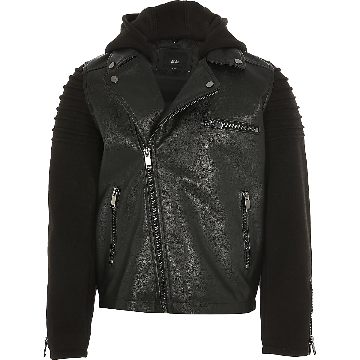 Boys jersey sleeve faux leather biker jacket