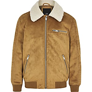 Boys tan faux suede borg bomber jacket