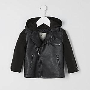 Perfecto noir avec manches en jersey pour mini garçon