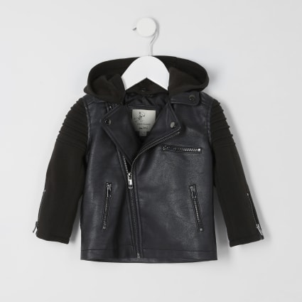 Mini boys black jersey sleeve biker jacket