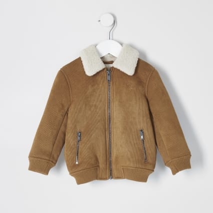 Mini boys brown faux suede bomber jacket