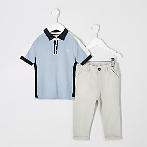 Outfit mit blauem Polohemd