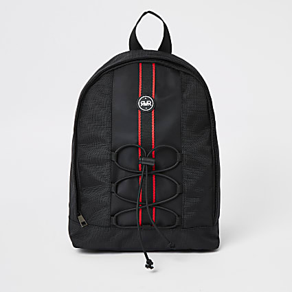 Boys black RVR tape large backpack