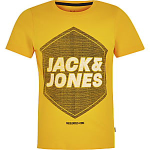 Boys Jack and Jones yellow logo T-shirt