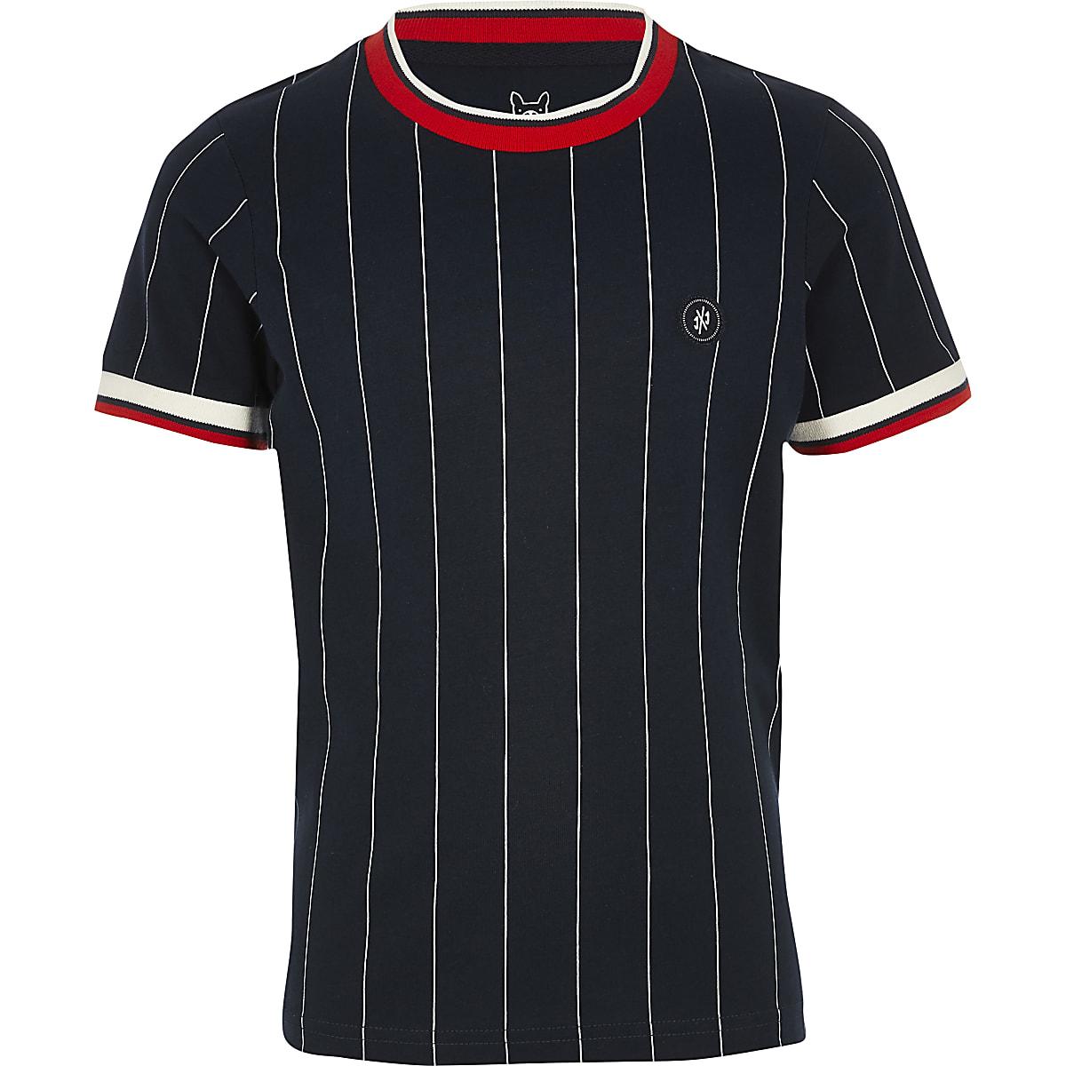 Boys navy jack and Jones stripe T-shirt