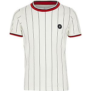 Jack & Jones – Weißes, gestreiftes T-Shirt