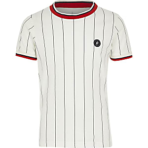 Jack and Jones – T-shirt rayé blanc pour garçon
