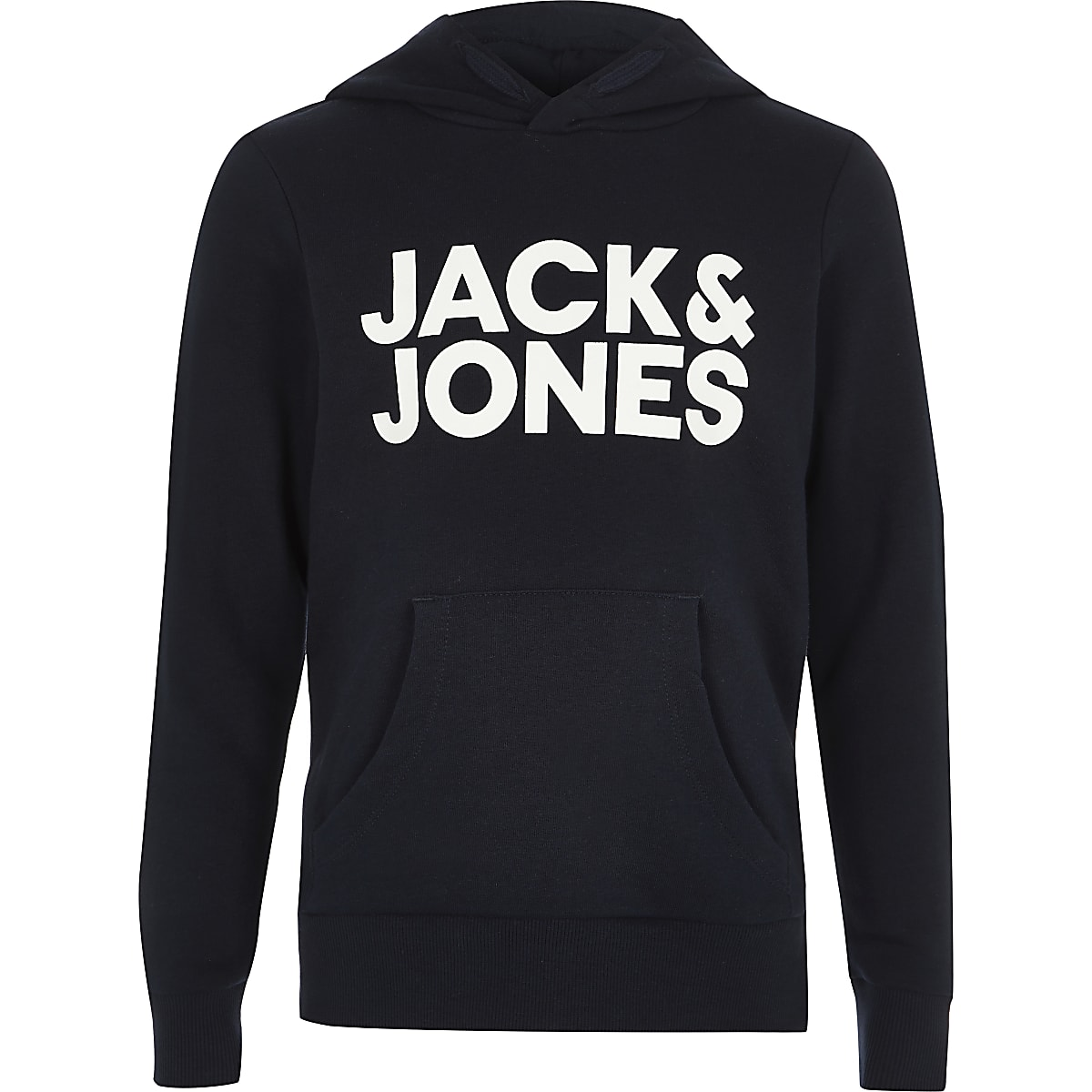 Boys Jack and Jones navy logo hoodie