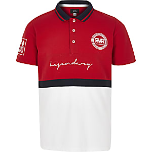 Boys red blocked polo shirt