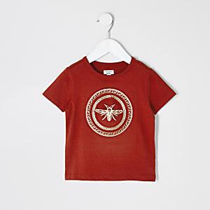 Mini - Oranje T-shirt met wespenprint en reliëf voor jongens