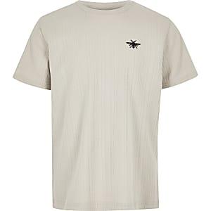 T-shirt grège côtelé pour garçon